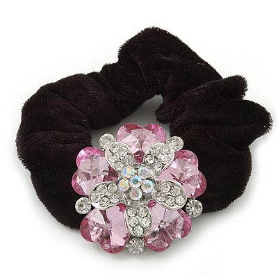 Large Layered Rhodium Plated Crystal Flower Pony Tail Black Hair Scrunchie - Light Pink/ Clear/ AB - main view