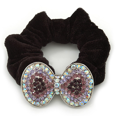 Large Rhodium Plated Crystal Bow Pony Tail Black Hair Scrunchie - Lilac/Clear