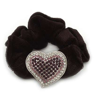Rhodium Plated Swarovski Crystal Classic 'Heart' Pony Tail Black Hair Scrunchie - Clear/ Amethyst/ Deep Purple