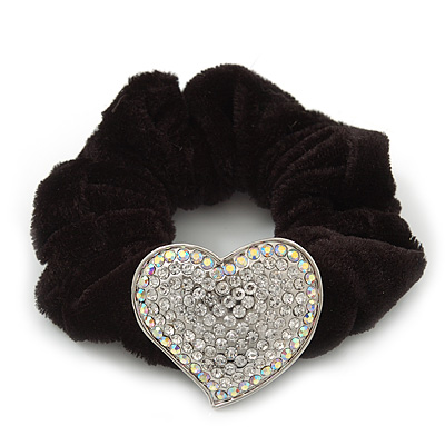 Rhodium Plated Swarovski Crystal Classic 'Heart' Pony Tail Black Hair Scrunchie - AB/ Clear