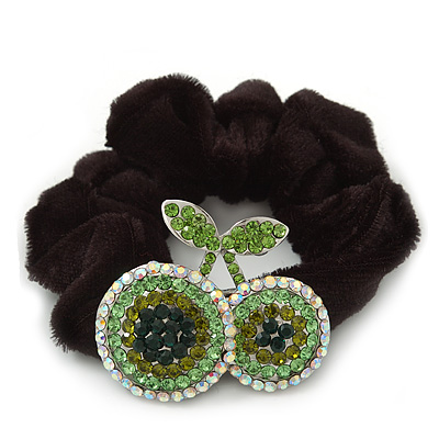 Rhodium Plated Swarovski Crystal 'Double Cherry' Pony Tail Black Hair Scrunchie - AB/ Green