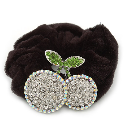 Rhodium Plated Swarovski Crystal 'Double Cherry' Pony Tail Black Hair Scrunchie - Clear/ Grass Green