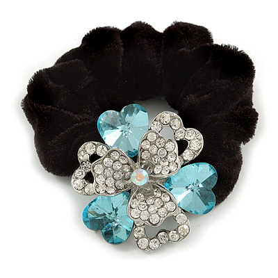 Large Layered Rhodium Plated Crystal Flower Pony Tail Black Hair Scrunchie - Light Blue/ Clear/ AB