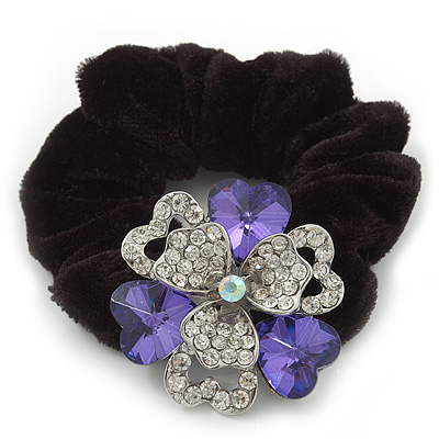 Large Layered Rhodium Plated Crystal Flower Pony Tail Black Hair Scrunchie - Violet/ Clear/ AB