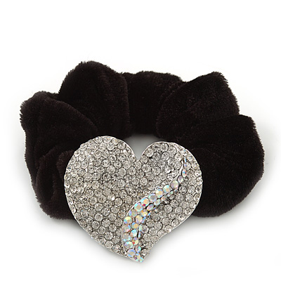 Rhodium Plated Swarovski Crystal Crinkle 'Heart' Pony Tail Black Hair Scrunchie - AB/ Clear