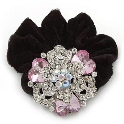 Large Layered Rhodium Plated Swarovski Crystal Rose Flower Pony Tail Black Hair Scrunchie - Light Pink/ Clear/ AB