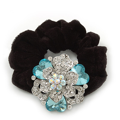 Large Layered Rhodium Plated Swarovski Crystal Rose Flower Pony Tail Black Hair Scrunchie - Light Blue/ Clear/ AB