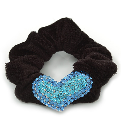 Rhodium Plated Swarovski Crystal 'Asymmetrical Heart' Pony Tail Black Hair Scrunchie - Light Blue