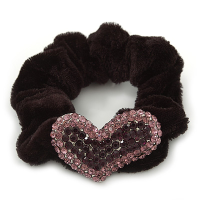 Rhodium Plated Swarovski Crystal 'Asymmetrical Heart' Pony Tail Black Hair Scrunchie - Amethyst/ Deep Purple