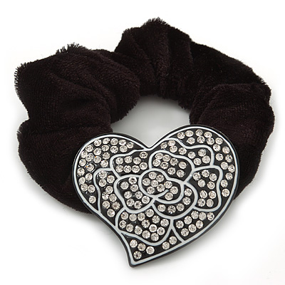 Large Swarovski Crystal Classic 'Heart' Pony Tail Black Hair Scrunchie - Clear