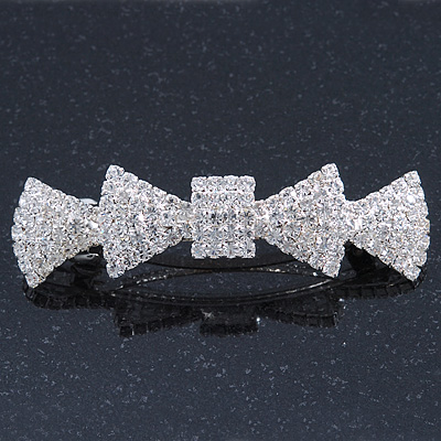 Bridal Wedding Prom Silver Tone Pave-set Diamante 'Bow' Barrette Hair Clip Grip - 85mm Across
