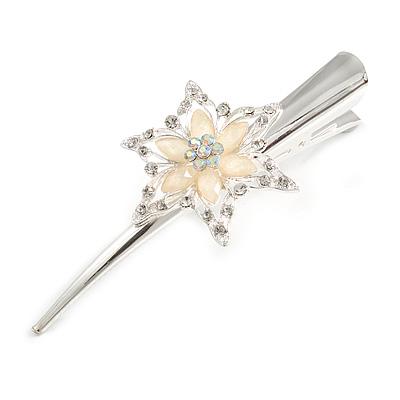 Bridal/ Prom/ Wedding Rhodium Plated Clear Crystal Open Flower Hair Beak Clip/ Concord Clip - 13cm Length