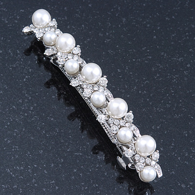 Bridal Wedding Prom Silver Tone Simulated Glass Pearl Crystal Barrette Hair Clip Grip - 85mm Width