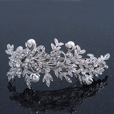 Bridal Wedding Prom Silver Tone Crystal Diamante & Simulated Pearl Floral Barrette Hair Clip Grip - 85mm Across - main view