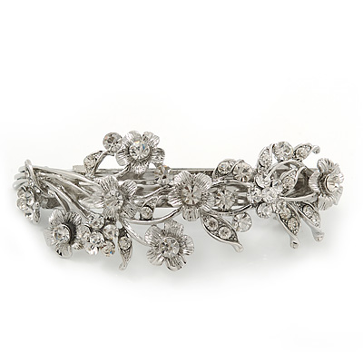 Bridal Wedding Prom Silver Tone Diamante 'Intertwined Flowers' Barrette Hair Clip Grip - 85mm Across