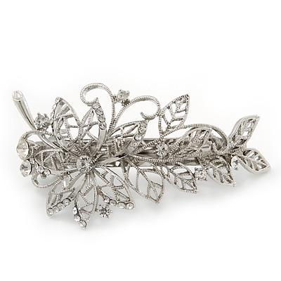 Bridal Wedding Prom Silver Tone Filigree Diamante 'Flower & Leaves' Barrette Hair Clip Grip - 90mm Across