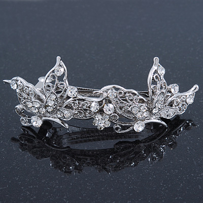 Bridal Wedding Prom Silver Tone Diamante 'Butterfly' Barrette Hair Clip Grip - 90mm Across - main view