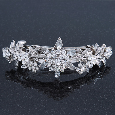 Bridal Wedding Prom Silver Tone Diamante 'Daisy Flower' Barrette Hair Clip Grip - 85mm Across