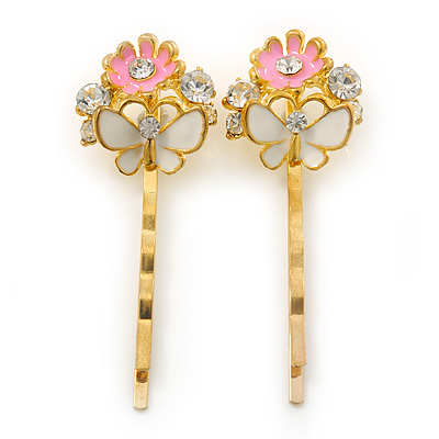 2 Enamel Crystal 'Flower & Butterfly' Hair Grips/ Slides In Gold Plating - 50mm Across