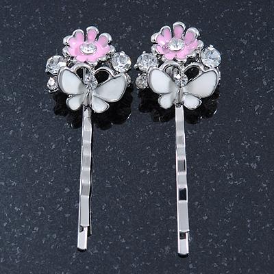 2 Enamel Crystal 'Flower & Butterfly' Hair Grips/ Slides In Rhodium Plating - 50mm Across