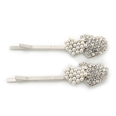 2 Bridal/ Prom Simulated Pearl Crystal 'Double Heart' Hair Grips/ Slides In Rhodium Plating - 50mm Across