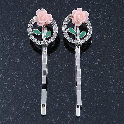 2 Vintage Inspired Crystal 'Rose' Hair Grips/ Slides In Rhodium Plating - 50mm Across