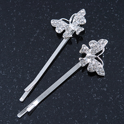 2 Rhodium Plated Clear Crystal Butterfly Hair Grips/ Slides - 55mm Across - main view