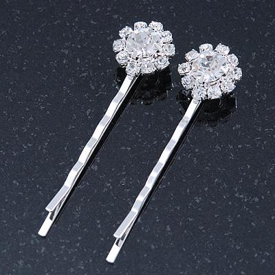 2 Bridal/ Prom Crystal Flower Hair Grips/ Slides In Rhodium Plating - 55mm Across
