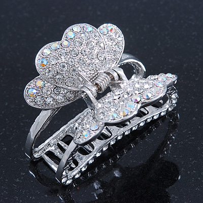 Rhodium Plated AB & Clear Crystal 'Butterfly' Hair Claw - 60mm Across