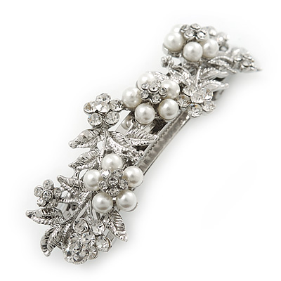 Bridal Wedding Prom Silver Tone Simulated Pearl Diamante Floral Barrette Hair Clip Grip - 80mm Across - main view
