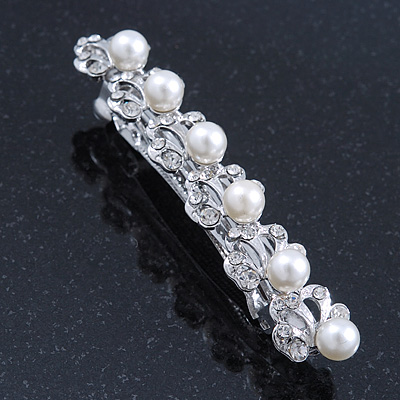 Bridal Wedding Prom Silver Tone Crystal Diamante & Simulated Pearl Barrette Hair Clip Grip - 85mm Width