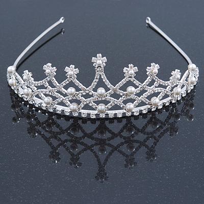 Bridal/ Wedding/ Prom Rhodium Plated Faux Pearl, Austrian Crystal Royal Style Tiara - main view