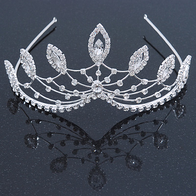 Statement Bridal/ Wedding/ Prom Rhodium Plated Austrian Crystal Leaf Tiara
