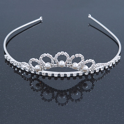 Princess Bridal/ Wedding/ Prom Rhodium Plated Austrian Crystal White Simulated Glass Pearl Tiara
