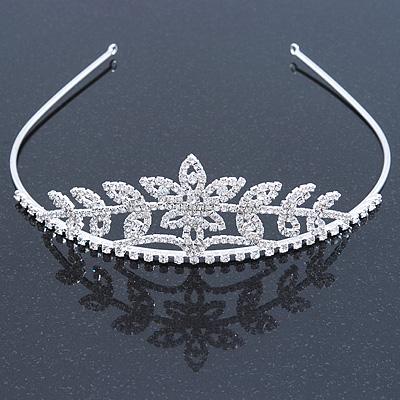 Statement Bridal/ Wedding/ Prom Rhodium Plated Austrian Crystal Floral Tiara