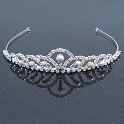 Princess Bridal/ Wedding/ Prom Rhodium Plated Austrian Crystal White Simulated Glass Pearl Tiara