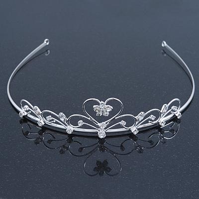 Bridal/ Wedding/ Prom Rhodium Plated Austrian Crystal Open Heart Tiara