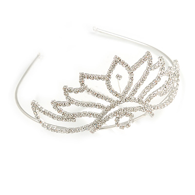 Bridal/ Wedding/ Prom Rhodium Plated Austrian Crystal 'Petals' Tiara