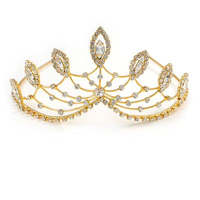 Statement Bridal/ Wedding/ Prom Gold Plated Austrian Crystal Leaf Tiara