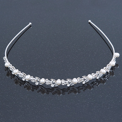 Bridal/ Wedding/ Prom Rhodium Plated Simulated Pearls, Crystal Leaves Tiara Headband