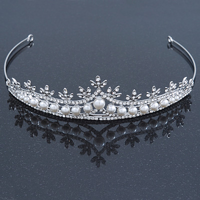 Bridal/ Wedding/ Prom Rhodium Plated Clear Crystal, White Simulated Glass Pearl Tiara Headband - main view