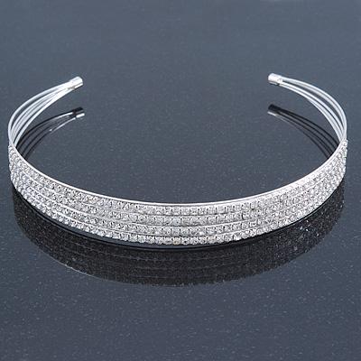 Bridal/ Wedding/ Prom Rhodium Plated Clear Crystal 4 Row Tiara Headband
