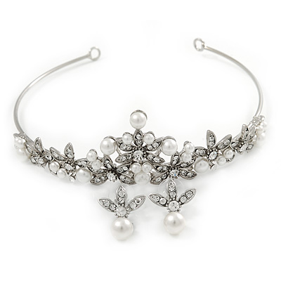 Bridal/ Wedding/ Prom Rhodium Plated Clear Crystal, Simulated Pearl Princess Classic Tiara And Matching Earrings - main view
