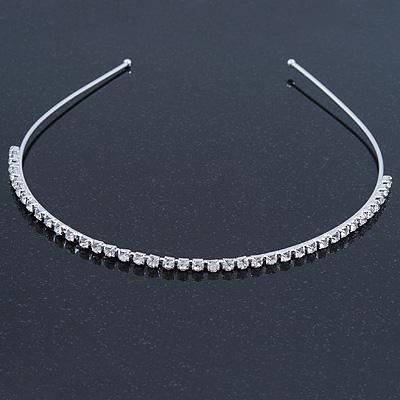 Bridal/ Wedding/ Prom Rhodium Plated Clear Crystal Single Row Tiara Headband