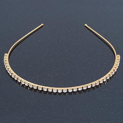 Bridal/ Wedding/ Prom Gold Plated Clear Crystal Single Row Tiara Headband