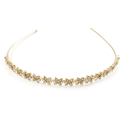 Bridal/ Wedding/ Prom Gold Plated Clear Crystal Floral Tiara Headband - main view