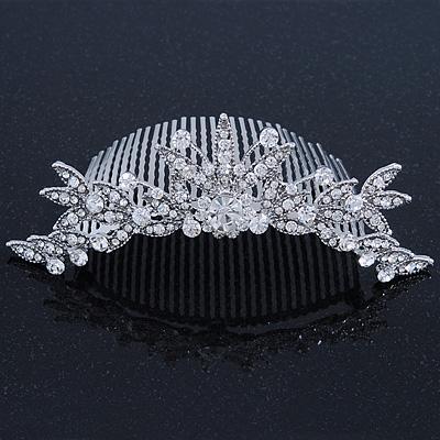 Bridal/ Wedding/ Prom/ Party Rhodium Plated Swarovski Crystal Flower & Leaf Hair Comb/ Tiara - 13cm
