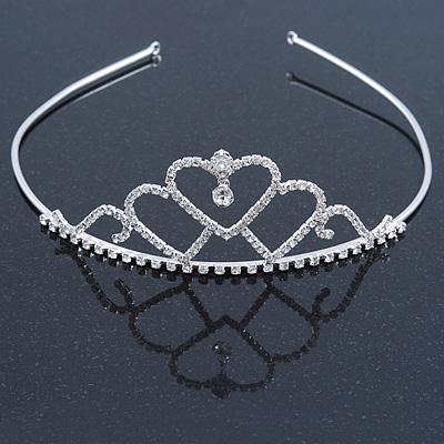 Statement Bridal/ Wedding/ Prom Rhodium Plated Austrian Crystal Triple Heart Tiara