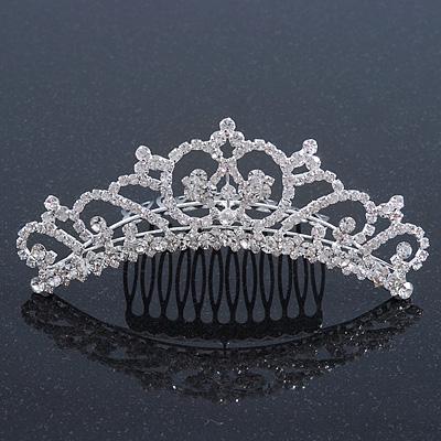 Bridal/ Wedding/ Prom/ Party Rhodium Plated Swarovski Crystal Hair Comb/ Tiara - 12.5cm