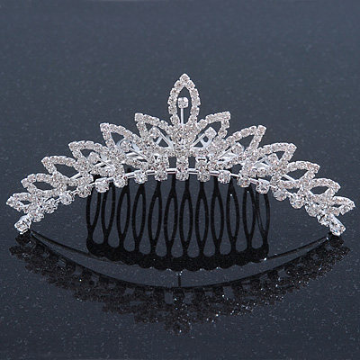 Bridal/ Wedding/ Prom/ Party Rhodium Plated  Swarovski Crystal Hair Comb Tiara - 11cm